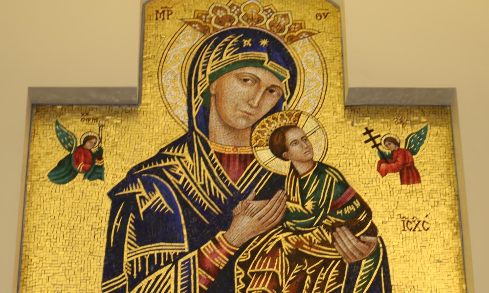 Madona with infant Jesus Mosiac Adoration Chapel